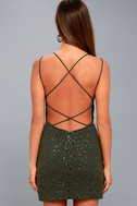 Nimah Olive Green Beaded Backless Dress 3