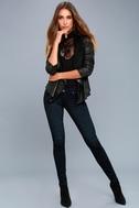 Sicily Metallic Black Moto Jacket 1