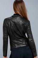 Sicily Metallic Black Moto Jacket 2