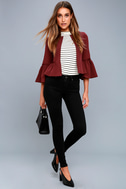 Forever Fancy Wine Red Cropped Flounce Sleeve Jacket 2