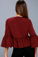 Forever Fancy Wine Red Cropped Flounce Sleeve Jacket 4