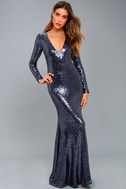 Capture the Moon Navy Blue Long Sleeve Sequin Maxi Dress 2