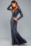 Capture the Moon Navy Blue Long Sleeve Sequin Maxi Dress 3