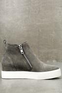 Wedgie Grey Suede Leather Hidden Wedge Sneakers 3