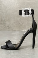 Brooks Black Satin Rhinestone Ankle Strap Heels 3