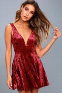 This Night Burgundy Velvet Backless Skater Dress 6