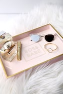 Boss Babe Gold and Blush Pink Lacquered Tray 1