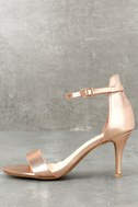 Published Author Rose Gold Ankle Strap Heels 1