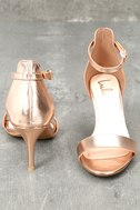 Published Author Rose Gold Ankle Strap Heels 2