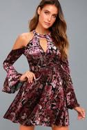 Safia Plum Purple Velvet Floral Print Cold-Shoulder Skater Dress 5
