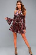 Safia Plum Purple Velvet Floral Print Cold-Shoulder Skater Dress 2