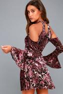 Safia Plum Purple Velvet Floral Print Cold-Shoulder Skater Dress 1