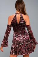 Safia Plum Purple Velvet Floral Print Cold-Shoulder Skater Dress 3