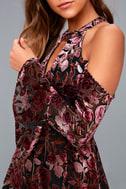 Safia Plum Purple Velvet Floral Print Cold-Shoulder Skater Dress 4
