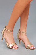 Published Author Gold Ankle Strap Heels 2