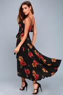 Good to You Black Floral Print Wrap Dress 6