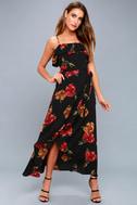 Good to You Black Floral Print Wrap Dress 5