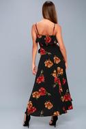 Good to You Black Floral Print Wrap Dress 7
