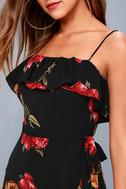 Good to You Black Floral Print Wrap Dress 9