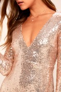 Capture the Moon Rose Gold Long Sleeve Sequin Maxi Dress 2