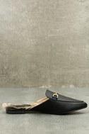 Antonia Black Faux Fur Loafer Slides 5