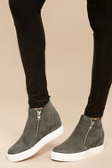 Wedgie Grey Suede Leather Hidden Wedge Sneakers 2