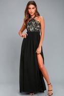Unforgettable Evening Black Lace Maxi Dress 1