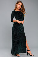 Perfect Night Forest Green Velvet Print Maxi Dress 2