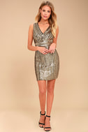 Marquee Lights Gold Sequin Backless Bodycon Dress 2