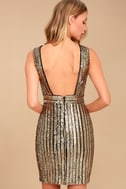 Marquee Lights Gold Sequin Backless Bodycon Dress 3