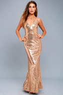 Here to Wow Gold Sequin Maxi Dress 5
