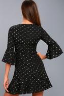 Heavy Metal Heart Black And Gold Polka Dot Print Dress 4