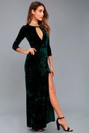 Keep Love Alive Forest Green Velvet Maxi Dress 2