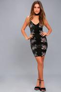 Sophina Black Velvet Embroidered Bodycon Dress 2
