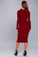 Snowfall Burgundy Long Sleeve Midi Sweater Dress 4