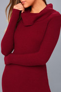 Snowfall Burgundy Long Sleeve Midi Sweater Dress 5
