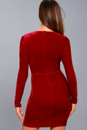 Midnight Hour Red Velvet Knotted Bodycon Dress 3