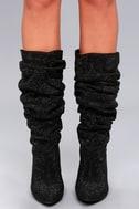 Dianne Black Rhinestone Knee High Heel Boots 2