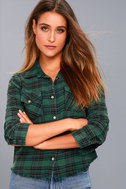In a Haze Green Plaid Flannel Button-Up Top 3