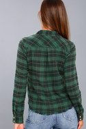 In a Haze Green Plaid Flannel Button-Up Top 4