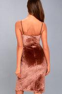Honey Love Rusty Rose Velvet Bodycon Wrap Dress 4