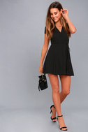 Good to Go Black Short Sleeve Surplice Dress 5