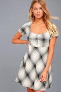 Sky Grey Plaid Skater Dress 3