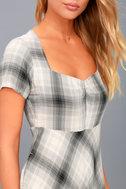 Sky Grey Plaid Skater Dress 5