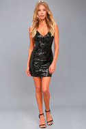 Champagne Showers Black Sequin Bodycon Dress 1