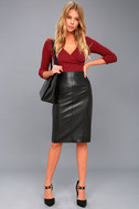 Pencil Me In Black Vegan Leather Midi Skirt 2