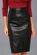 Pencil Me In Black Vegan Leather Midi Skirt 3