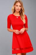 Sheer Factor Red Mesh Skater Dress 2