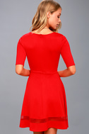 Sheer Factor Red Mesh Skater Dress 3