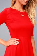 Sheer Factor Red Mesh Skater Dress 4